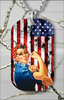 ROSIE THE RIVETERS USA FLAG DOG TAG PENDANT NECKLACE FREE CHAIN -ftd4Z
