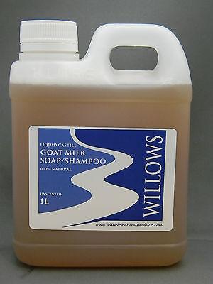 LIQUID CASTILE GOATS MILK SOAP/ SHAMPOO 100% NATURAL UNSCENTED 1 L
