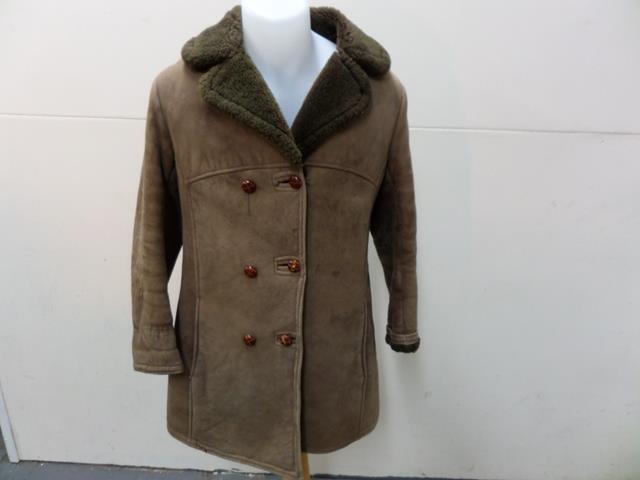 Real Leather Sheepskin Shearling Coat Women Size 34  Light Brown Grade B T411