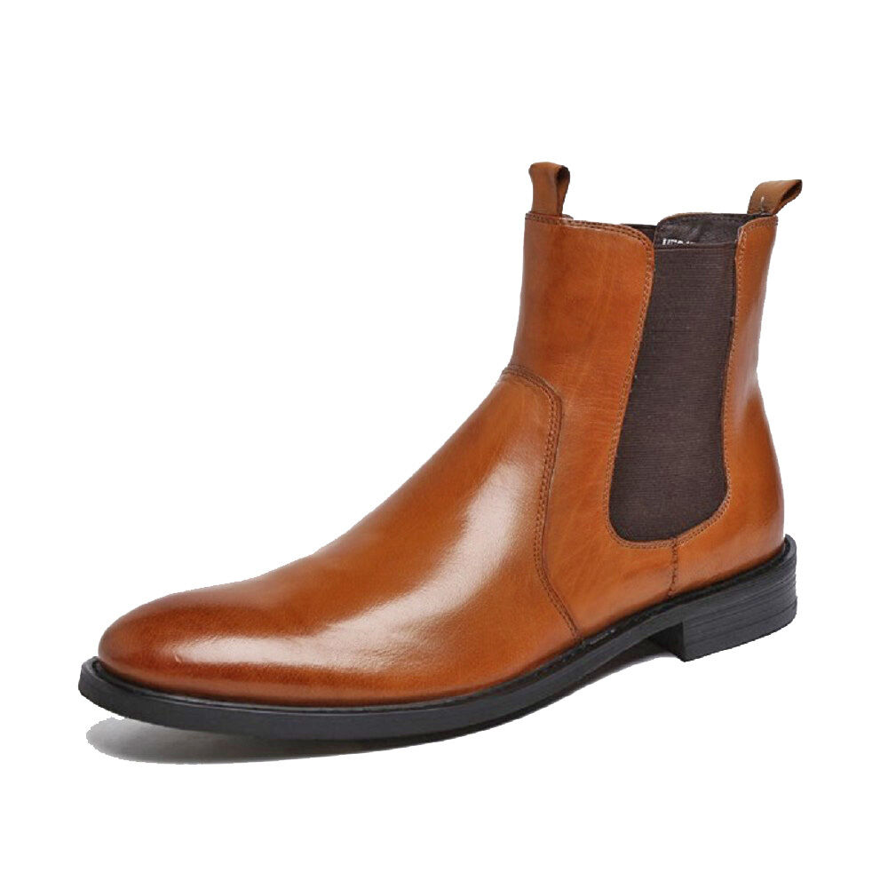 Retro Fashion Genuine Leather Uomo Formal Dress Chelsea Shoes Chelsea Dress Ankle Boots Flats 88a1ba