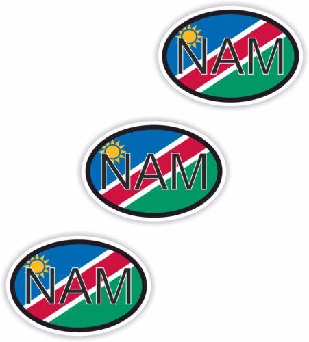 Nationality plate 3x Nam Namibia MOTO Sticker Car Sticker
