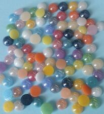 100 ROUND GLASS CABOCHONS 4-5mm ~ Flatbacked Pearlised Glass ~ Mixed Colours