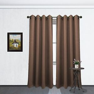 Image Is Loading Chocolate Brown Grommet Blackout Room Window Curtain Panel