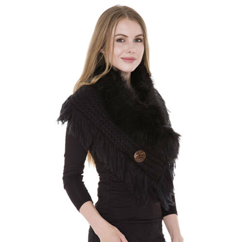 Faux Fur Collar Cable Knit Tassel Cape Shawl Scarf 4 Colours By Rocks Boutique