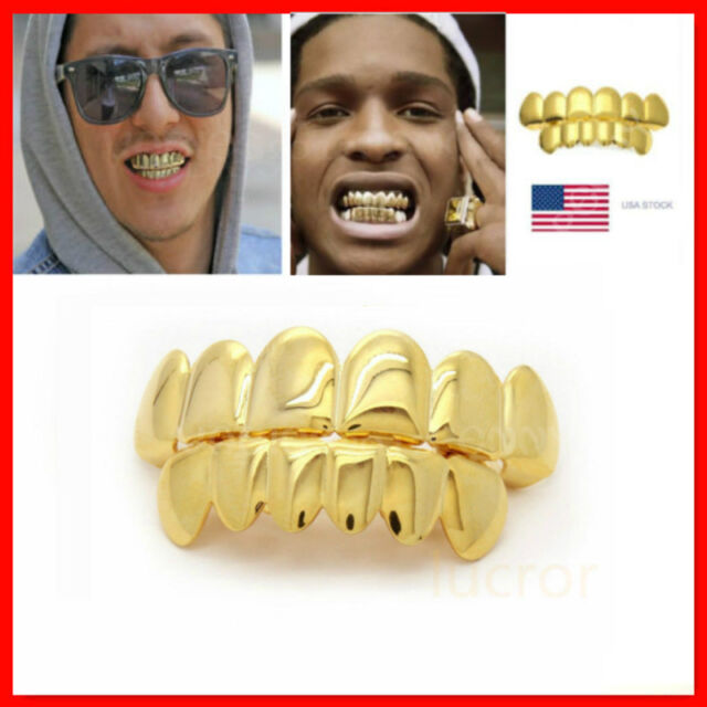 Hip-Hop Rapper 14K Gold Plated Mouth Caps Custom Teeth Grills Bottom Grillz  Set 1f1e12d84f84
