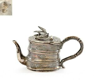 1900's Chinese Solid Silver Miniature Tea Kettle Teapot Bamboo Motif Marked