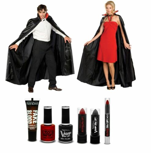 MAKE UP SET Adult VAMPIRE DRACULA Halloween Fancy Dress Party Cape COSTUME