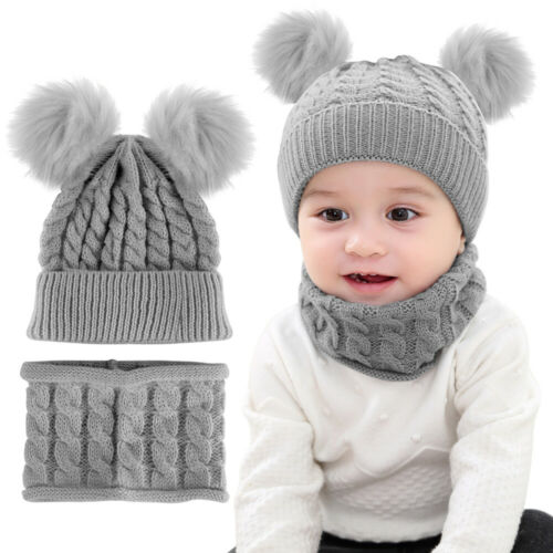 Baby Beanie Cap Double Pompom Boy Girl Hat /& Neckerchief Kids Knitted Toddler
