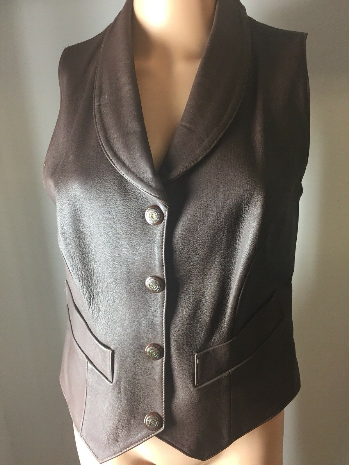 Vintage Alex Piel Genuina - Genuine Leather Vest Brown Sleeveless Lined 34