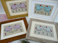Handmade Elephants Framed Picture choice of colour, frame & personalisation gift