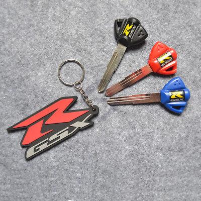 Blade Uncut Key+Ring Fit For Suzuki GSXR400//600//1300 3D Soft Rubber Keychain