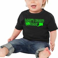 Daddy's Riding Buddy Baby T Shirt Infant Number Plate Supercross Motocross