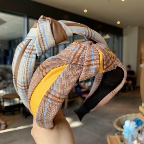 Women Pu Leather Stitching Plaid Hair Band Knotted Headband Hair Accessories