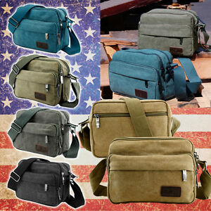 Canvas-Vintage-School-Satchel-Messenger-Military-Shoulder-Leather-Bags-Men-039-s