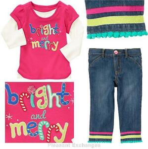NWT-Gymboree-2T-3T-4T-5T-COLOR-HAPPY-Baby-Girl-2pc-lot-Merry-Top-amp-Glitter-Jeans