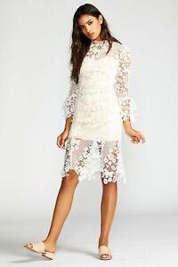 Details About Free People Floral Crochet White Lace La Spezia Midi Dress Bridal Shower Sz M