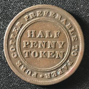 Canada-1813-Half-Penny-Token-Un-Sou-NS-21A3-Breton-965-J-029