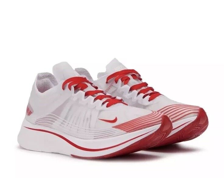 NEW NIKE MENS SZ 11 NIKE ZOOM FLY SP RUNNING SHOES AJ9282 100 WHITE-RED-red