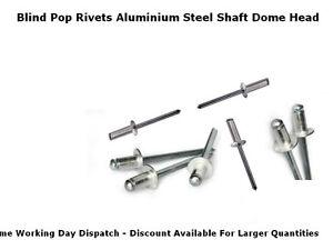 4.8mm x 24.5mm MULTI GRIP STANDARD DOME HEAD POP BLIND ALUMINUM//STEEL RIVETS