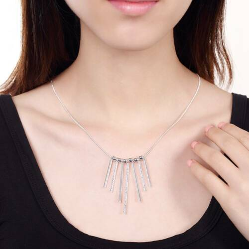 Fashion 925Sterling Solid Silver Jewelry 5Bar Pendants Necklace For Women N094