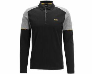Hugo-Boss-pleesy-1-50413973-001-Negro-Camisa-Polo-para-hombre-de-manga-larga-superior