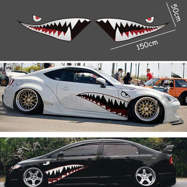 2x 59 full size shark mouth tooth teeth graphics vinyl car sticker decal decor