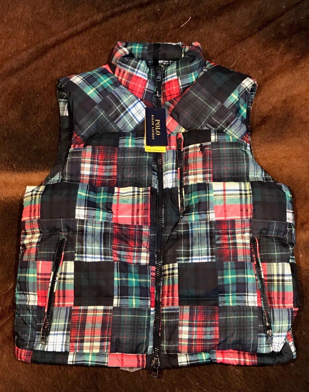 Polo Ralph Lauren Plaid Tartan Beacon Patchwork Bear Stadium Ski Vest XL ()