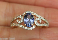 14k Sz7 1.25ct Natural Tanzanite & Zircon Scroll Engagement Ring Yellow Gold