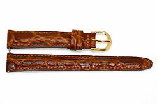 14MM BROWN PADDED CROCODILE GRAIN LEATHER WATCH BAND STRAP FIT FOSSIL JACQUELINE
