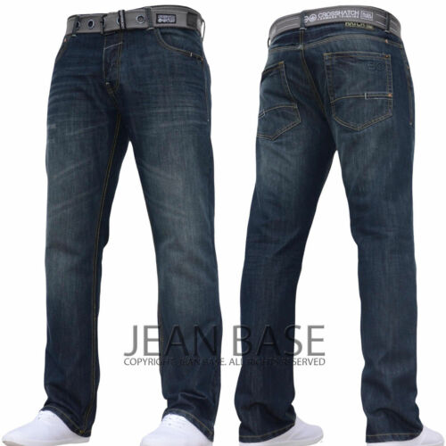 NEW MENS CROSSHATCH STRAIGHT LEG DARK BLUE JEANS ALL WAIST SIZES JEANBASE NW1
