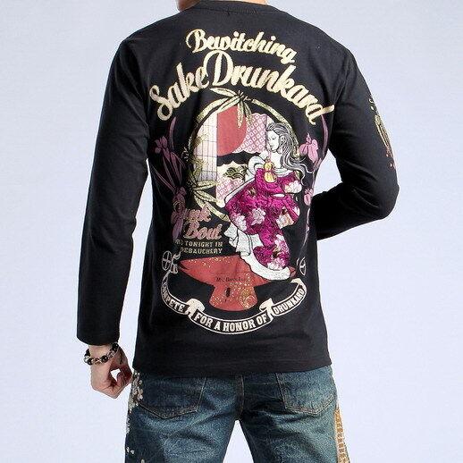 Nouveau Japonais Motif T-shirt à hommeches longues broderie sukajan Ukiyo-e débauche