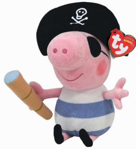 TY BEANIE BOO BABIES PIRATE GEORGE FROM PEPPA PIG PLUSH SOFT TOY NEW WITH TAGS