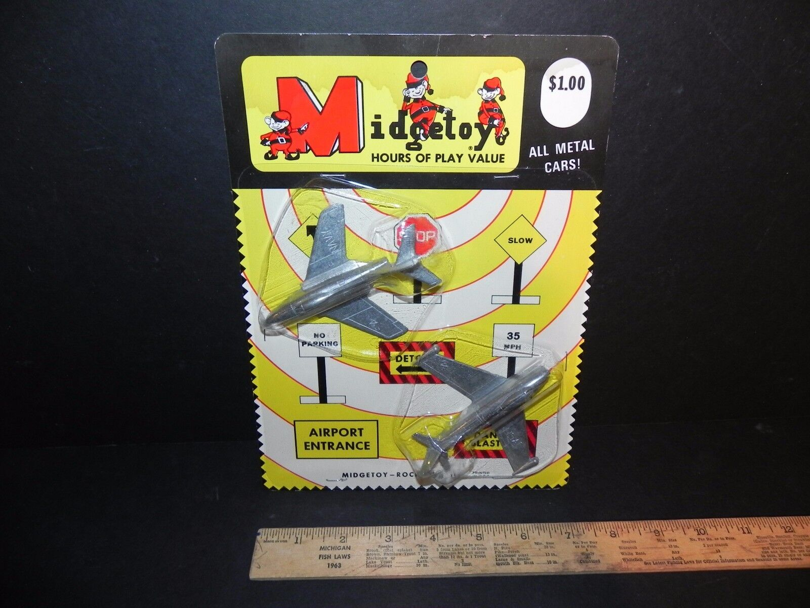 MIDGETOY VINTAGE DIE-CAST 2 AIRPLANES NEW ON CARD - NAVY & USAF NOS - Free Ship