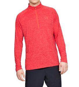 Under Armour Mens Red Size Medium M Activewear Quarter-Zip HeatGear $40 #029