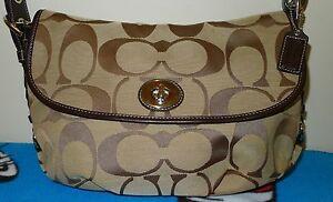 b6f60a3ee3bc Image is loading Coach-Signature-Flap-Shoulder-Bag-Crossbody-Duffle-F15171-