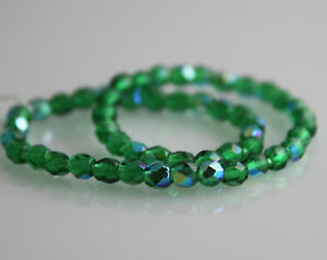 CZECH 3mm Fire Polished Glass Beads Emerald 50