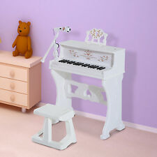 HOMCOM 37 Teclas Teclado Piano Electrónico Niños micrófono Taburete Atril blanco