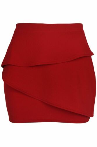 Womens Ladies Wrap Over Side Ruched Waffle Fabrics Pencil Bodycon Fit Mini Skirt