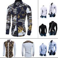 Stylish Men's Luxury Shirt Long Sleeve Slim Fit Dress Shirt Casual Formal Shirts