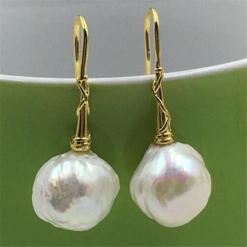 HUGE 13-14MM baroque south sea pearl earrings 18K GOLD TwoPin earbob    AAA