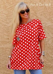 Details about PLUS SIZE SOFT RED & WHITE POLKA DOT TUNIC TOP SHIRT with  POCKETS 1X 2X 3X USA