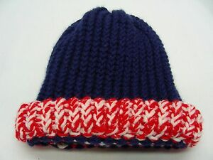 476c8b4cdc1 RED WHITE AND BLUE - HAND KNITTED - INFANT SIZE STOCKING CAP BEANIE ...