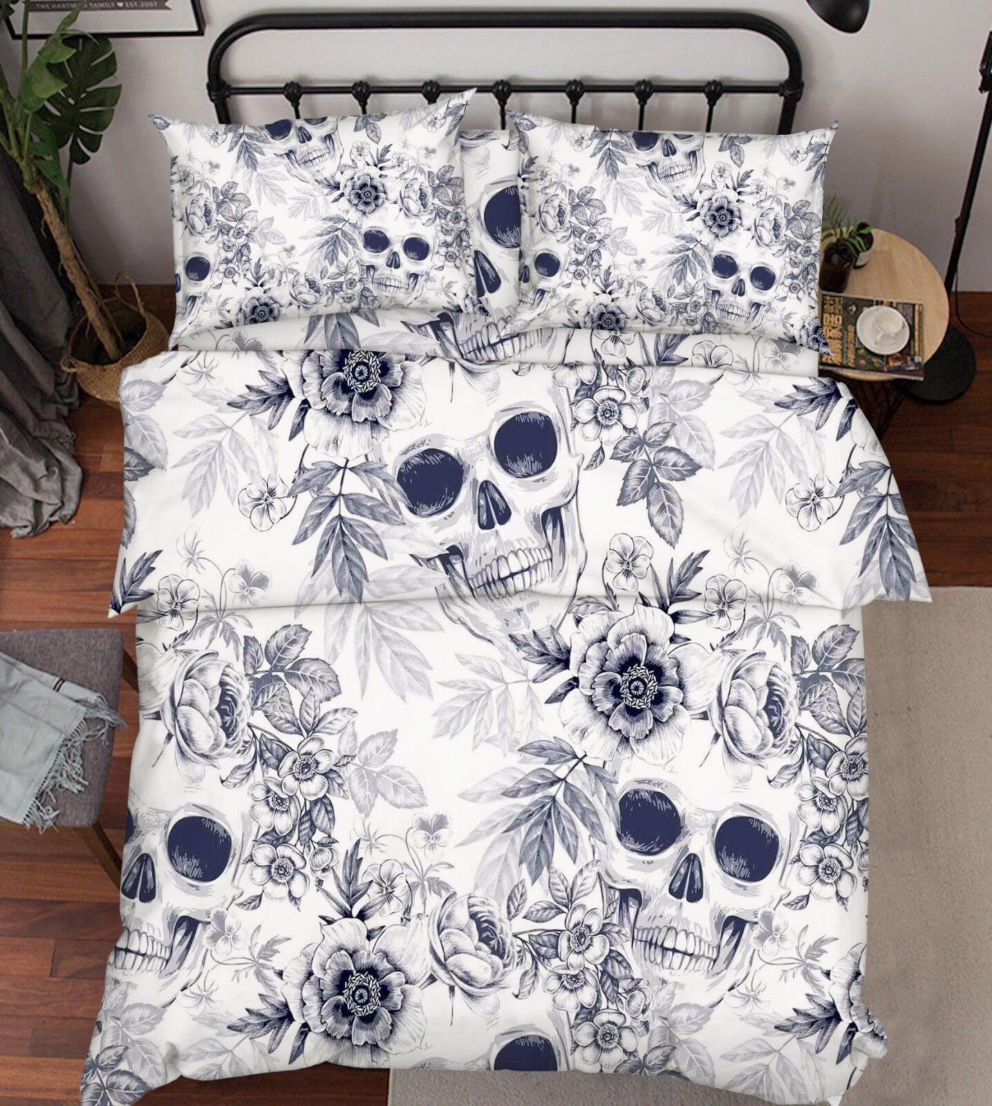 3D Painted Skull 576 Bed Pillowcases Quilt Duvet Cover Set Single King UK Lemon