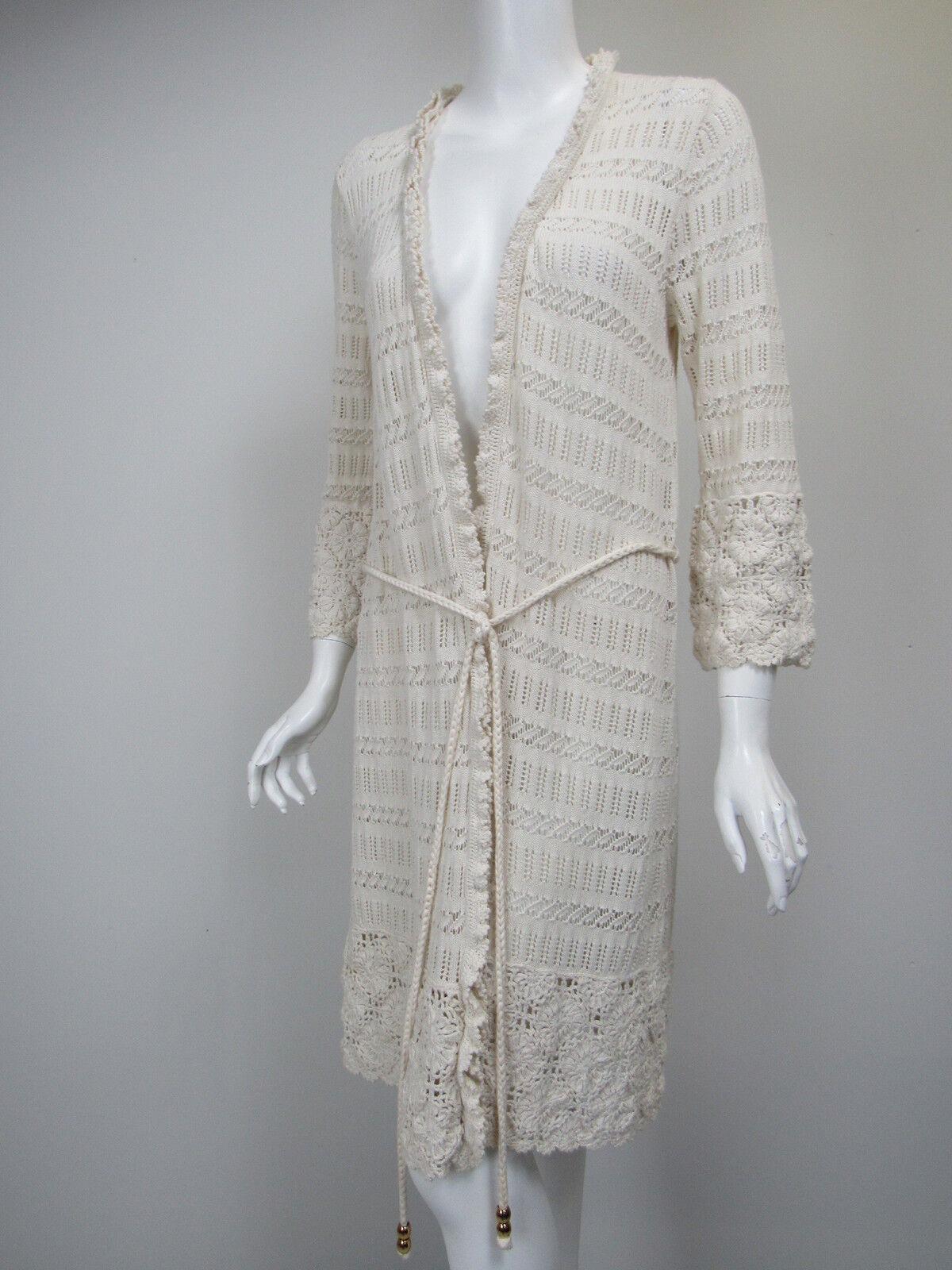 MILLY Ivory Cotton Crochet Knit Braided Tie Belt Duster Sweater Coat sz L