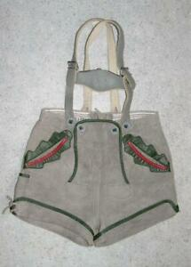 Pfundig-kurze-Kinder-Trachten-LEDERHOSE-Trachtenhose-in-grau-ca-128-134