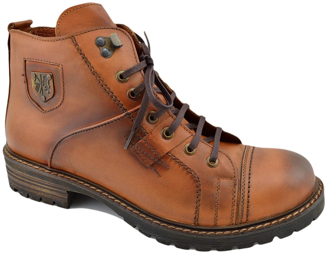 200 REACTOR Tan Marronee Leather BIKER Fashion Ankle stivali Men scarpe