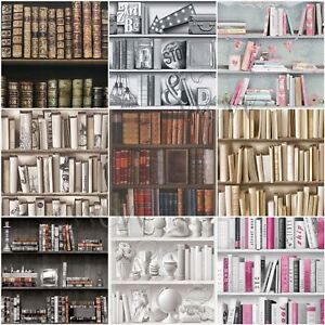 Image Is Loading Bookcase Pattern Wallpaper White Natural Feature Wall Various