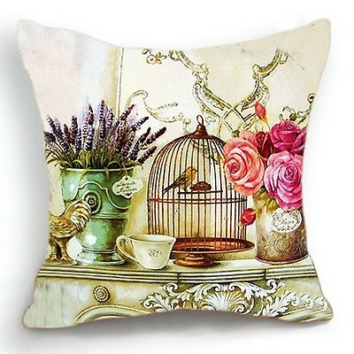 Retro Style Bird Cage Rose Flower Home Decorative Pillow Case Cushion Cover 18''