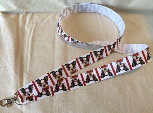Cute Boston Terrier Inspired Lanyard Made w Lightweight Ribbon