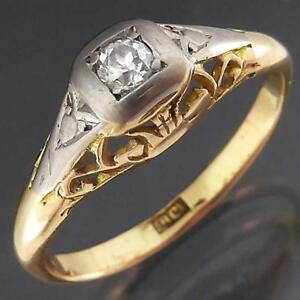 Vintage-c1930-039-s-Solid-18k-Yellow-amp-White-GOLD-DIAMOND-SOLITAIRE-RING-Sz-M
